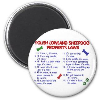POLISH LOWLAND SHEEPDOG Property Laws 2 Refrigerator Magnets