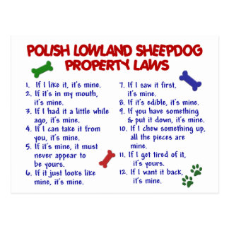 POLISH LOWLAND SHEEPDOG Property Laws 2 Post Cards