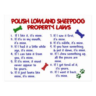 POLISH LOWLAND SHEEPDOG Property Laws 2 Postcards