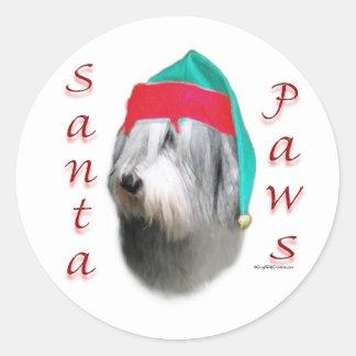 Polish Lowland Sheepdog Santa Paws Classic Round Sticker
