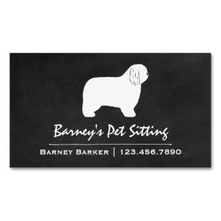 Polish Lowland Sheepdog Silhouette Magnetic Business Card