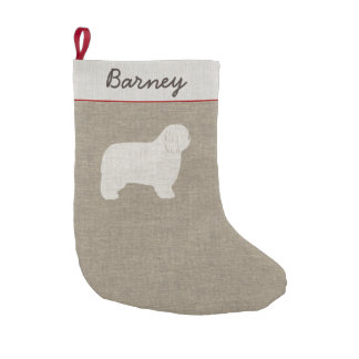 Polish Lowland Sheepdog Silhouette with Text Small Christmas Stocking