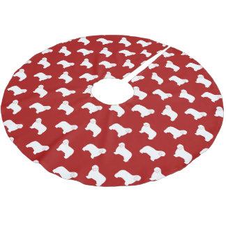Polish Lowland Sheepdog Silhouettes Pattern Brushed Polyester Tree Skirt