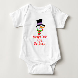 Polish Merry Christmas Snowman Tee Shirt