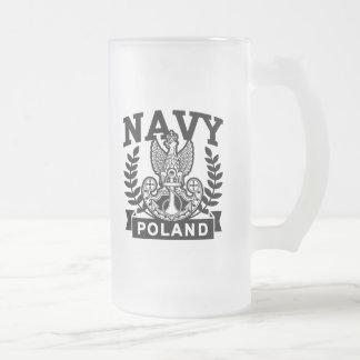 Polish Navy 16 Oz Frosted Glass Beer Mug