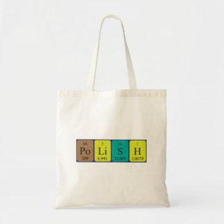 Polish periodic table patriotic tote bag