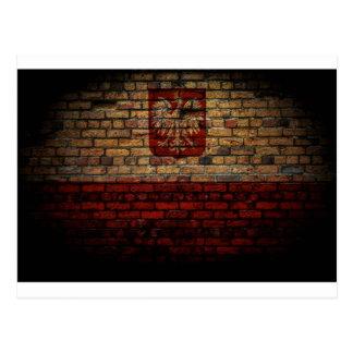 Polish Poland Flag Brick Wall Design Postcard