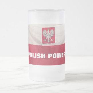 POLISH POWER FROSTED GLASS BEER MUG
