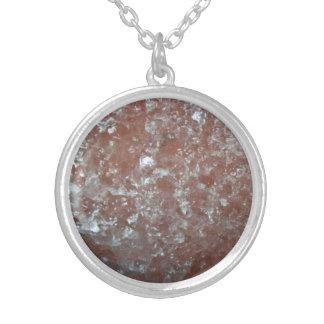 Polish rock salt round pendant necklace