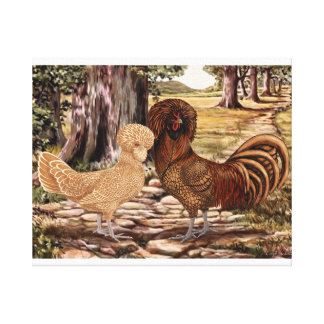Polish Rooster and Hen in Wooded Setting Canvas Print