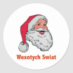 Polish Santa Round Stickers