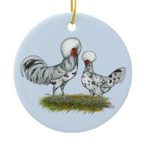 Polish Splash Chickens Ceramic Ornament
