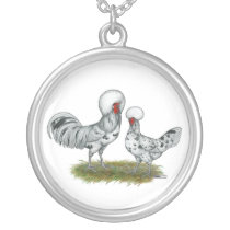 Polish Splash Chickens Silver Plated Necklace