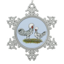 Polish Splash Chickens Snowflake Pewter Christmas Ornament