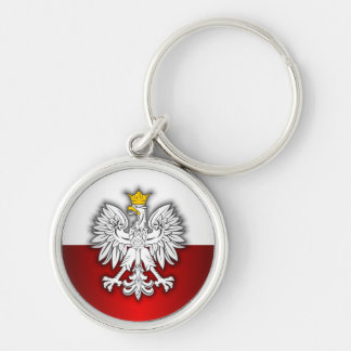 Polish Steel 4 Silver-Colored Round Keychain