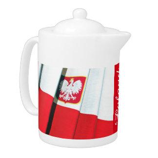 POLISH TEA POT WITH POLISH FLAG