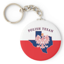 Polish Texan Eagle Map Keychain