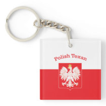 Polish Texan Eagle Shield Keychain