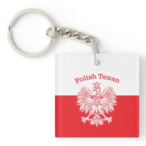 Polish Texan White Eagle Keychain