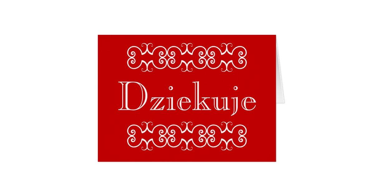 Polish Thank You Greeting Note Card Dziekuje Zazzle