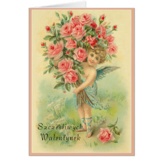 Polish Valentines Day Angel with Roses Card