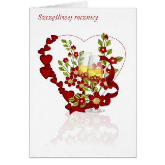 Polish Wedding Anniversary With Champagne Flowers Card