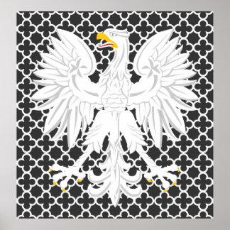 Polish White Eagle Black and White Quatrefoil Poster