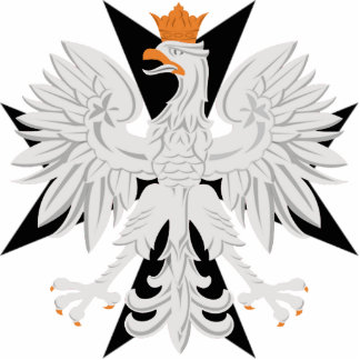 Polish White Eagle Black Maltese Cross Statuette