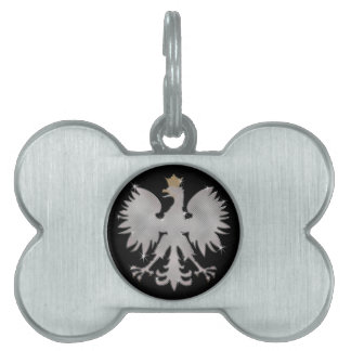Polish White Eagle Bling Dog Bone Tag