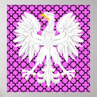 Polish White Eagle Pink & Black Quatrefoil Pattern Poster