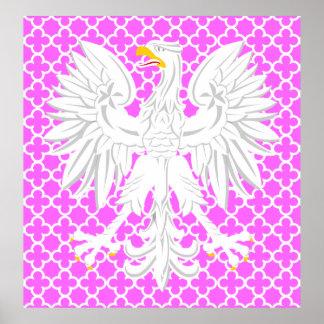 Polish White Eagle Pink & White Quatrefoil Pattern Posters