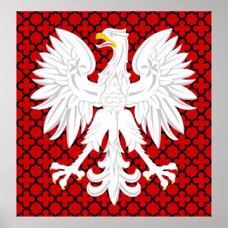Polish White Eagle Red & Black Quatrefoil Pattern Posters