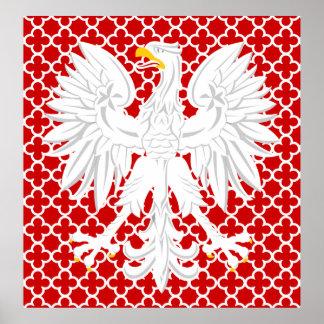 Polish White Eagle Red Quatrefoil Pattern Poster