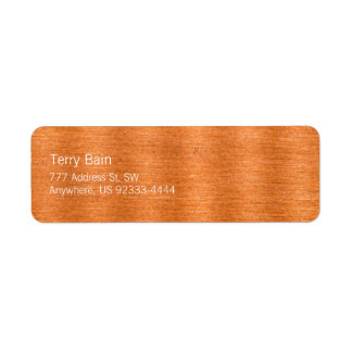 Polished Copper Wavy Texture Background Label