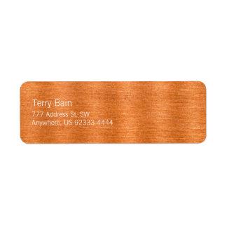 Polished Copper Wavy Texture Background Return Address Label