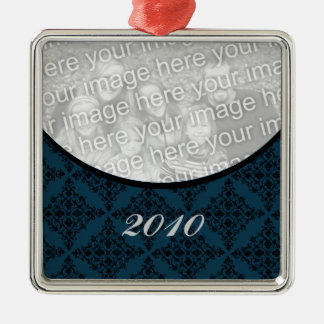 Polished Holiday Damask Premium Square Ornament
