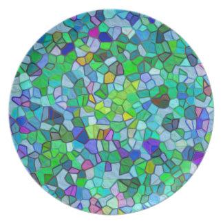 Polished Pebble Mosaic Blue Plate