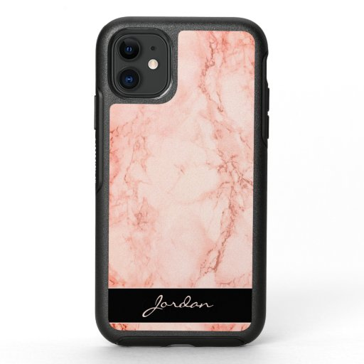 Polished Pink Marble Stone with Name OtterBox Symmetry iPhone 11 Case