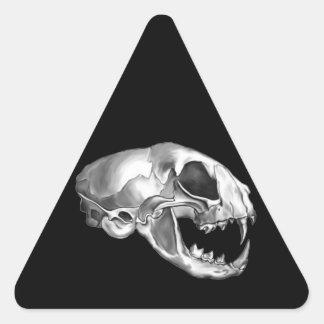 Polished Silver Felis (Cat) Skull Triangle Sticker