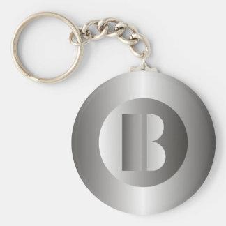 "Polished Steel ""B"" Basic Round Button Keychain"