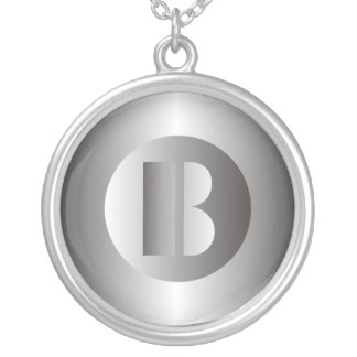 "Polished Steel ""B"" Round Pendant Necklace"