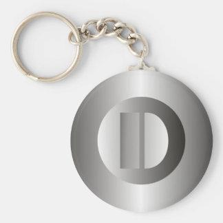"Polished Steel ""D"" Basic Round Button Keychain"