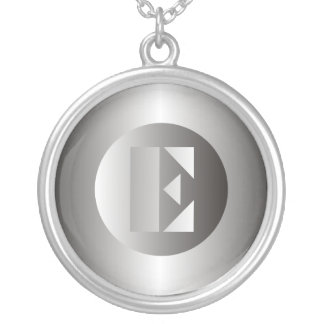 "Polished Steel ""E"" Round Pendant Necklace"