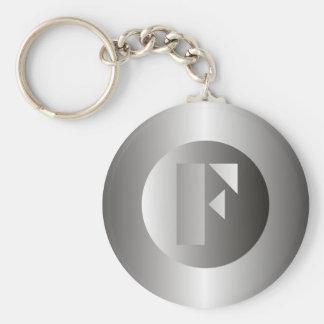 "Polished Steel ""F"" Basic Round Button Keychain"