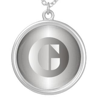 "Polished Steel ""G"" Round Pendant Necklace"