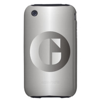 """Polished Steel """"G"""" Tough iPhone 3 Case"""