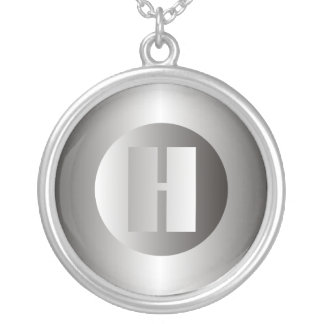 """Polished Steel """"H"""" Round Pendant Necklace"""