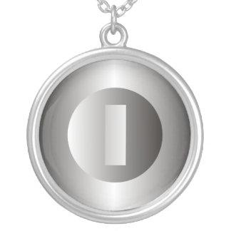 """Polished Steel """"I"""" Round Pendant Necklace"""