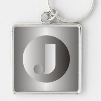 """Polished Steel """"J"""" Keychains"""