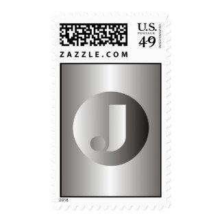 """Polished Steel """"J"""" Postage Stamp"""